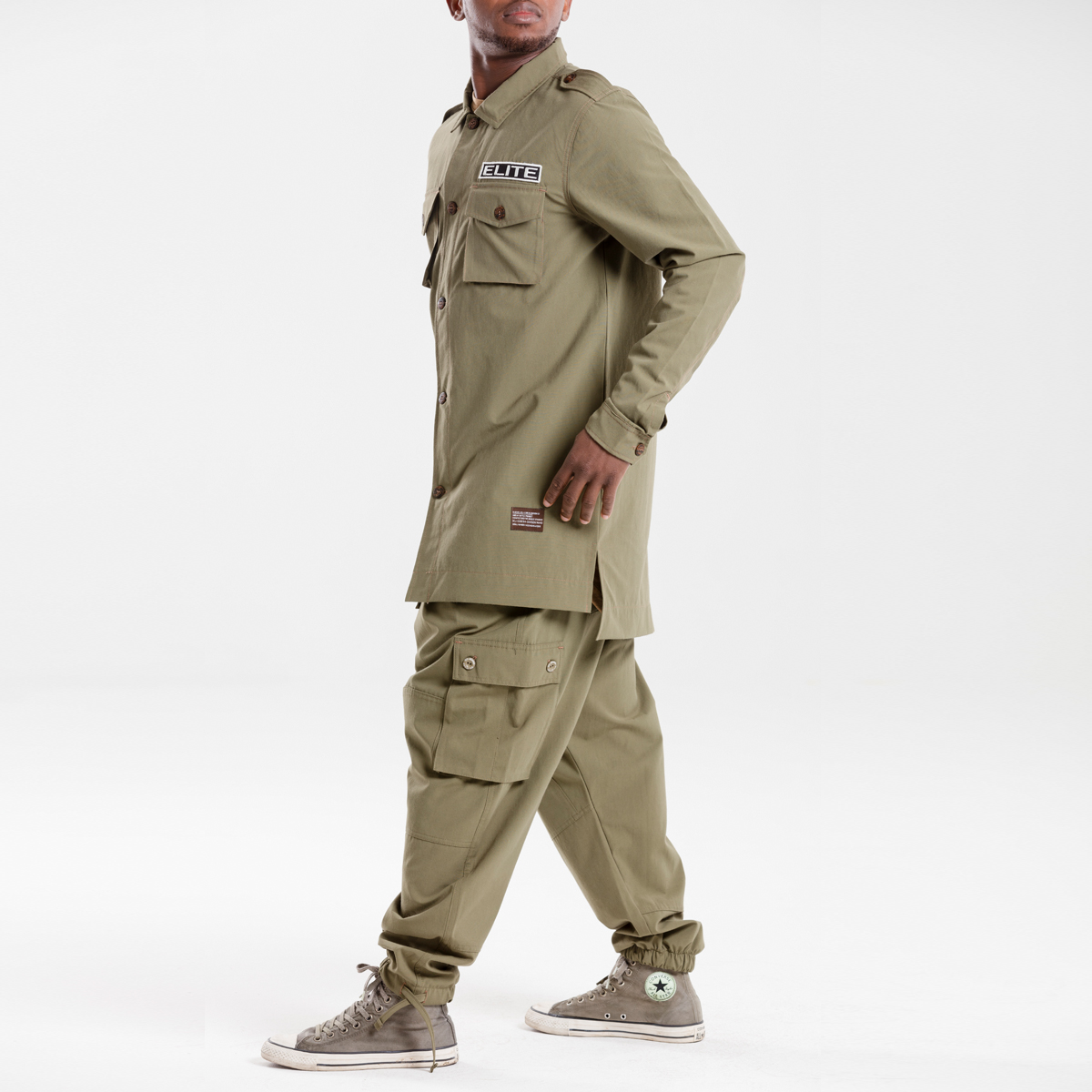 chemise veste oversize kaki dcjeans manche longue ensemble profil