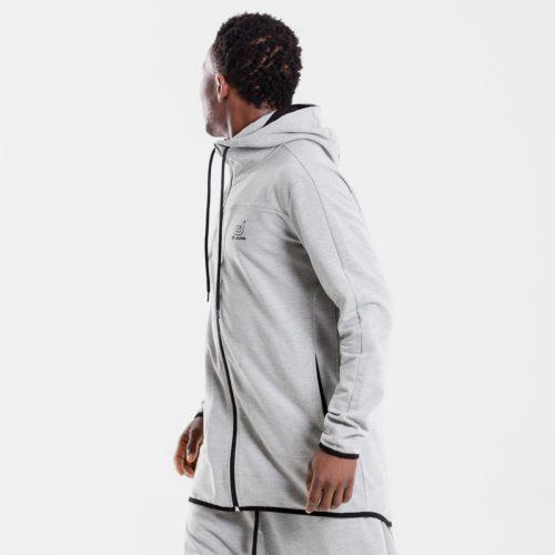 sweat capuche zip jogging evo gris dcjeans profil