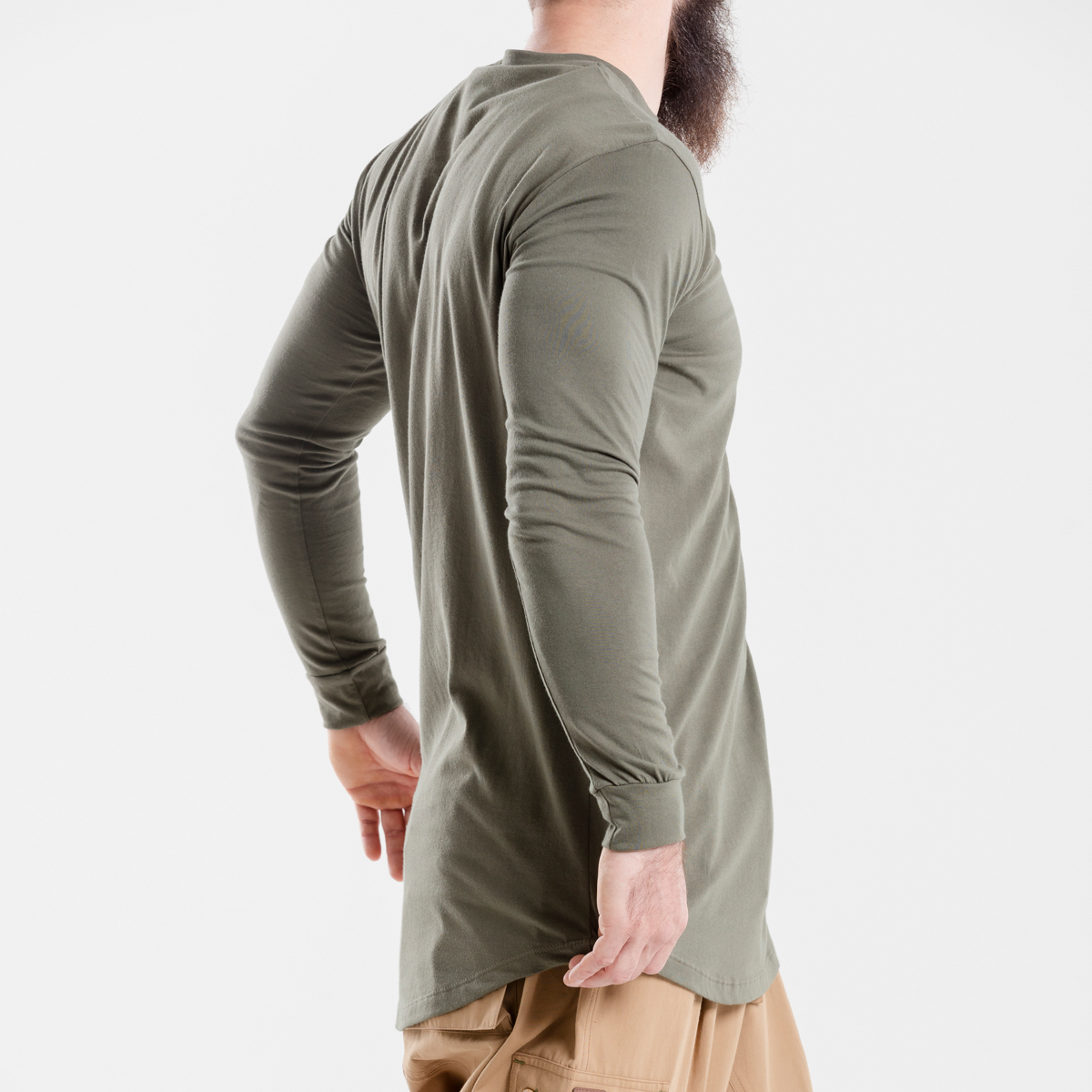 tshirt oversize kaki dcjeans manche longue profil