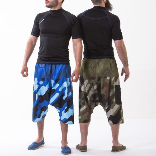 saroual bain camo bleu vert complet duo dcjeans