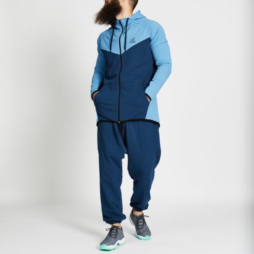 pantalon jogging long bleu complet face
