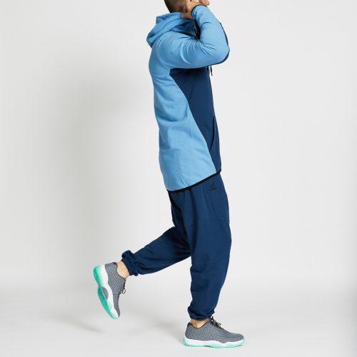 pantalon jogging long bleu complet profil