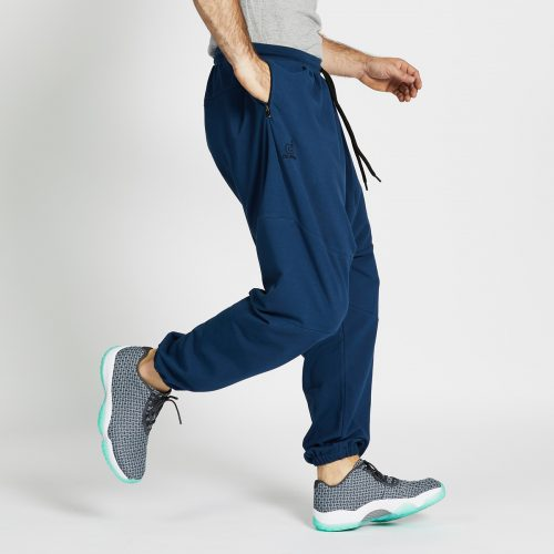 pantalon jogging long bleu profil