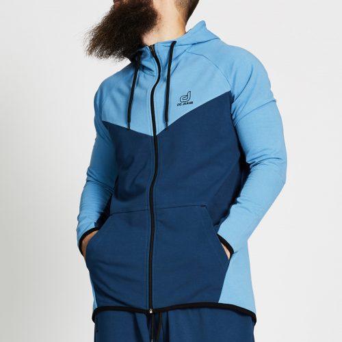 sweat jogging bi colore bleu face