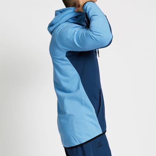 sweat jogging bi colore bleu profil