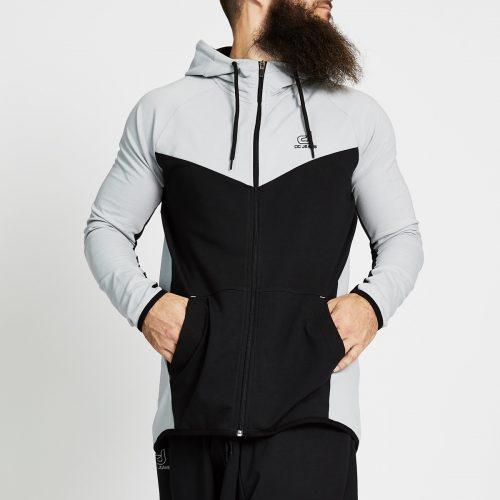 sweat jogging bi colore noir gris face