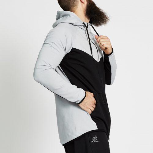 sweat jogging bi colore noir gris profil