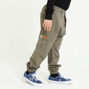 pantalon cargo enfant kaki profil