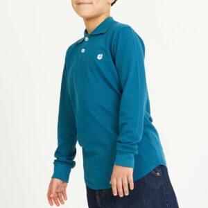 polo enfant bleu profil