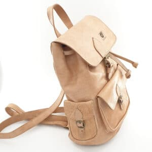 sac à dos cuir blanc profil