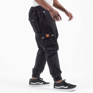 Pantalon jeans cargo black profil bis dcjeans