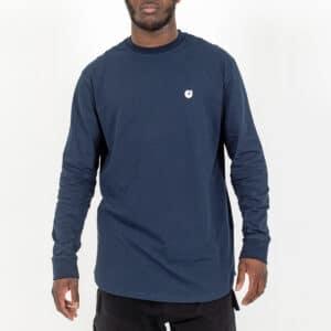 Tshirt manche longue basic face bleu dcjeans